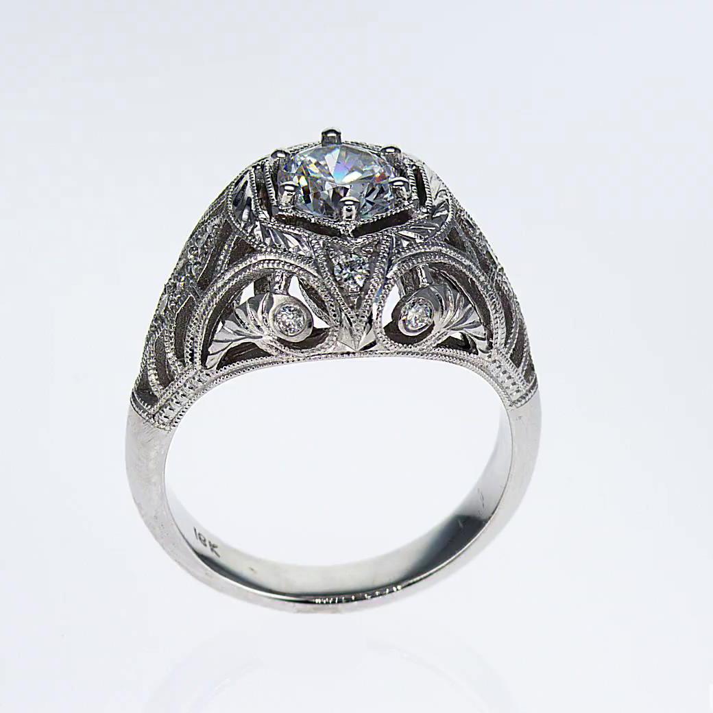 Art Deco Ring With Diamonds platinum