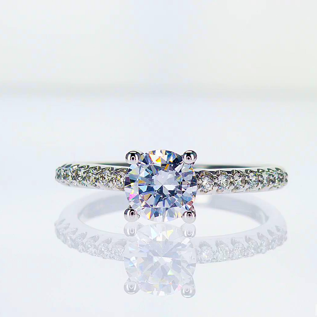 Diamond Engagement Ring,18k White Gold (semi mount)