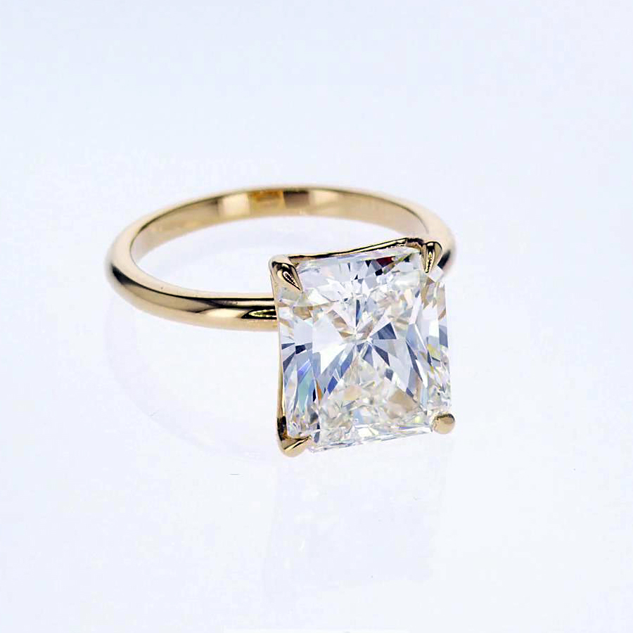 Five Carat Radiant Cut Diamond Solitaire Engagement Ring, 18k Yellow Gold