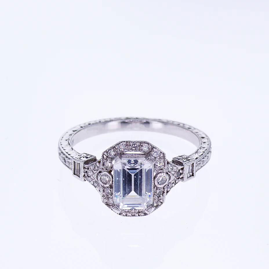 Emerald Cut Diamond Bridal Ring Set