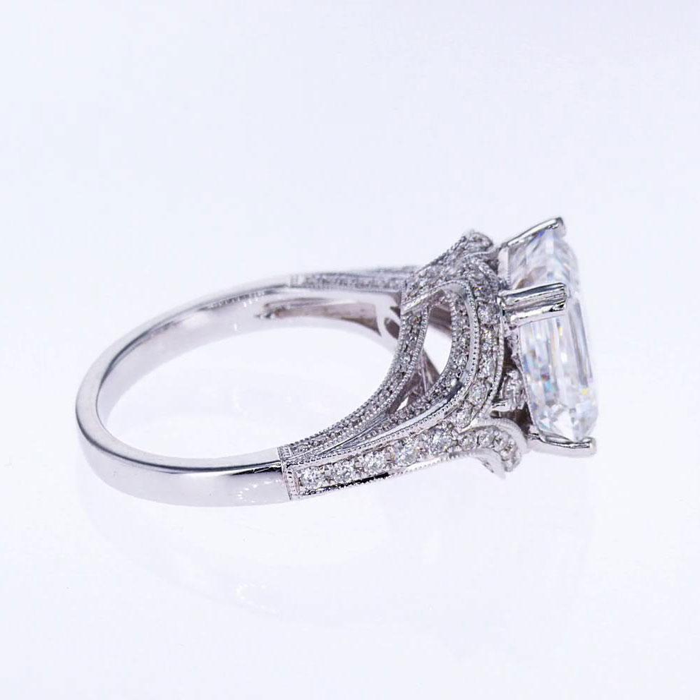 Emerald cut Diamond Engagement Ring, 18k White Gold (semi mount)