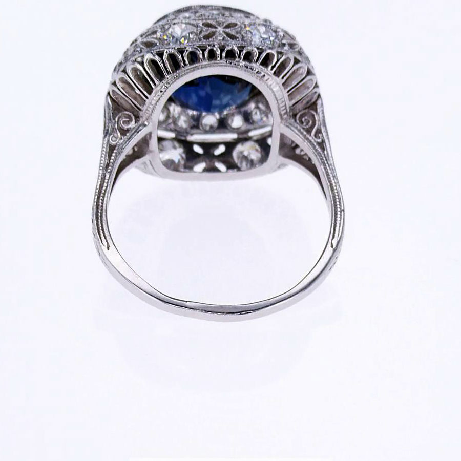 Vintage Blue Sapphire and Diamond Engagement Ring