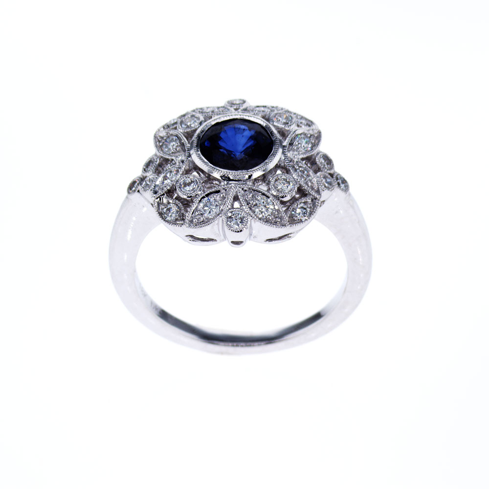 Floral inspired Blue Sapphire and Diamond Engagement Ring