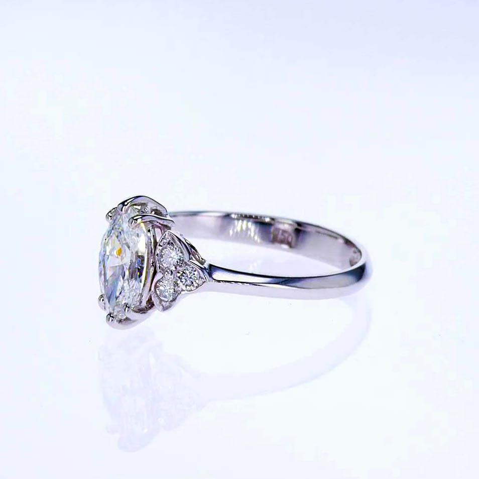 Vintage Marquise Diamond Engagement Ring, 18k White Gold