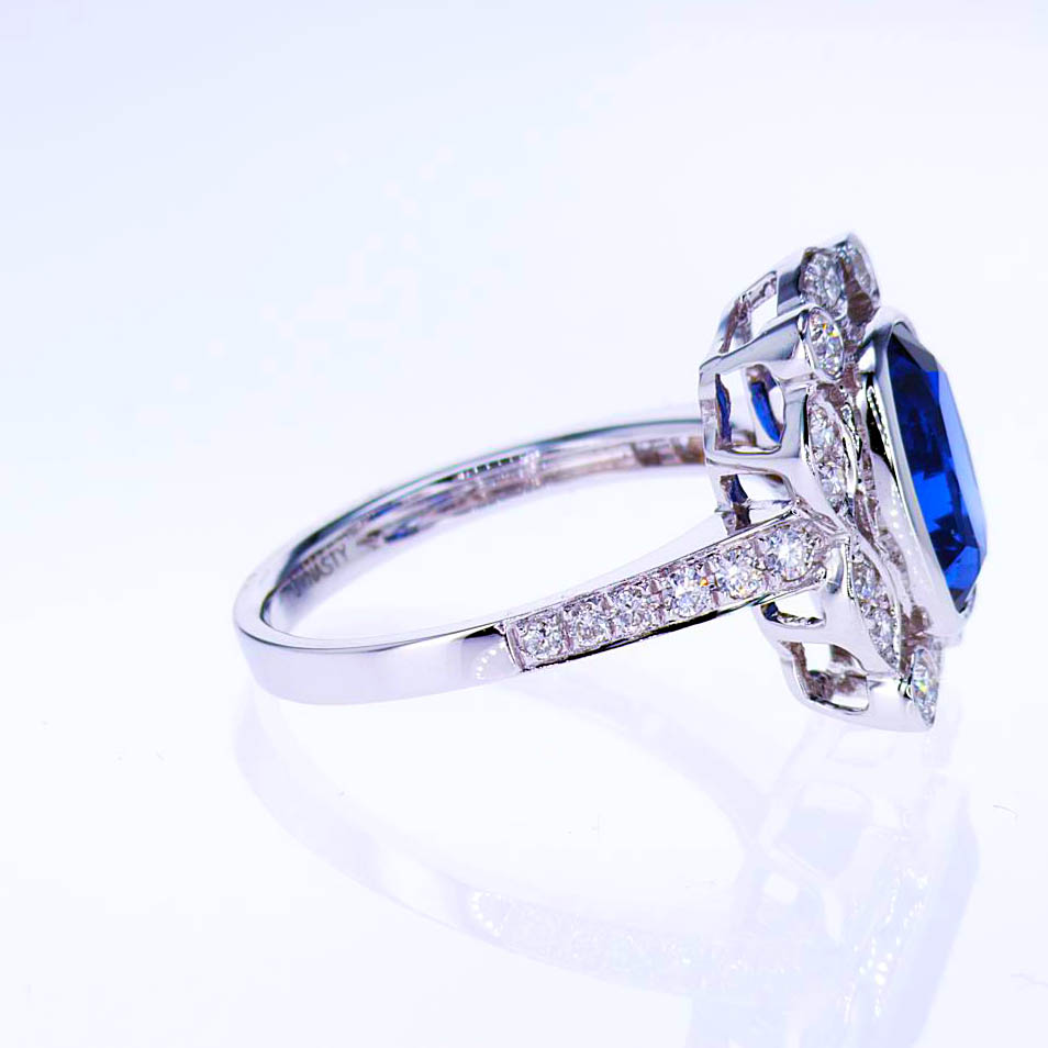 Diamond accented Natural Blue Sapphire Ring, 18k White Gold