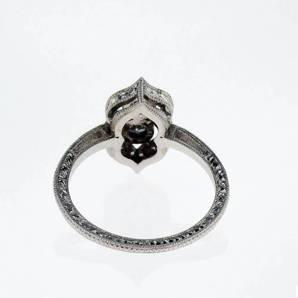 Two Stone Vintage Diamond Engagement Ring, 18k White Gold