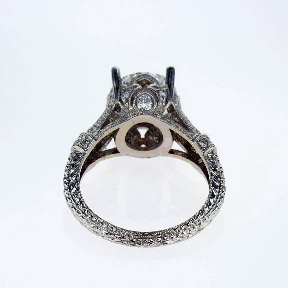 Vintage Inspired Engagement Ring, 18k White Gold(semi-mount)