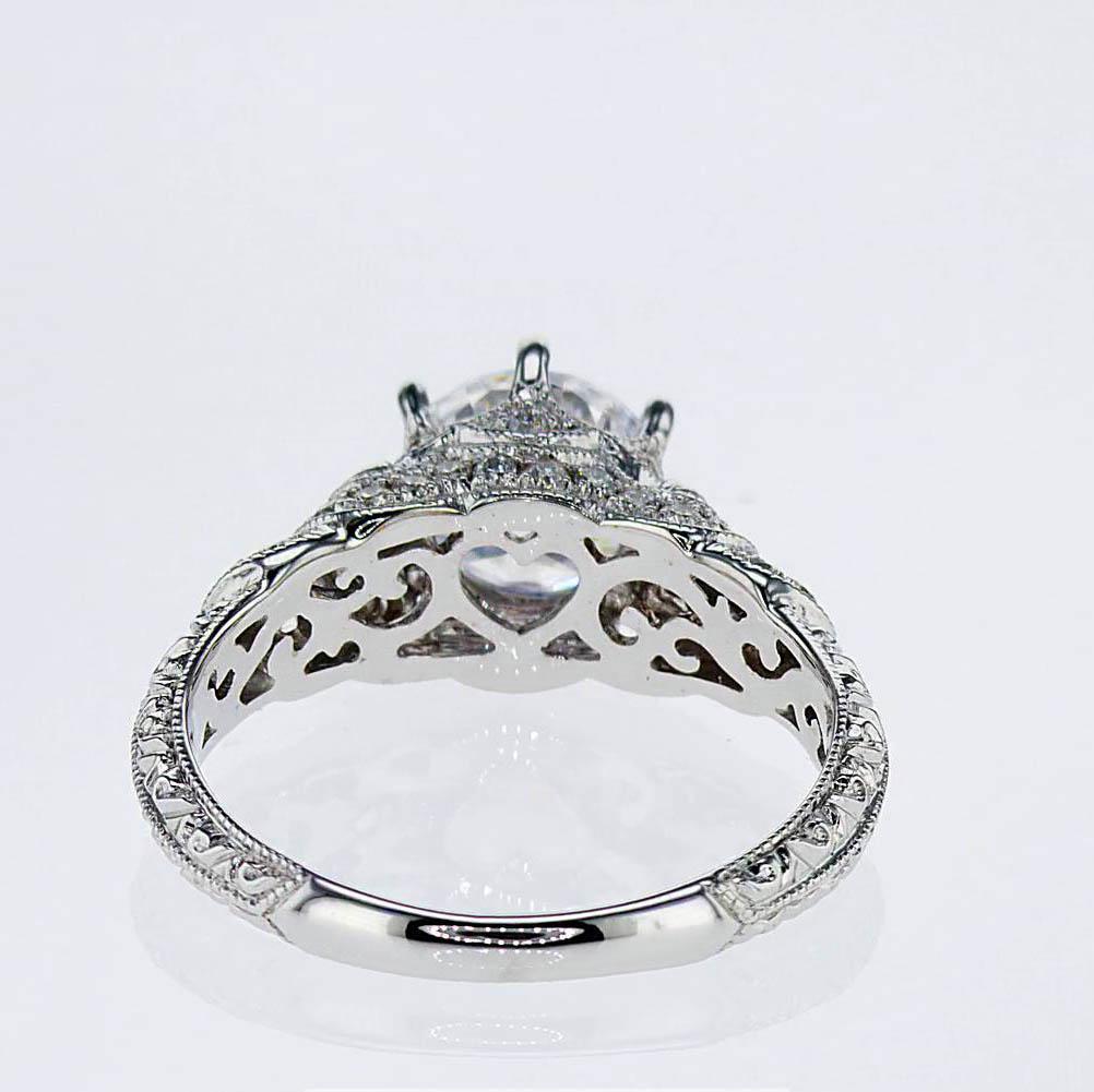 Hand-engraved Art Deco Engagement Ring, 18k White Gold(semi-mount)