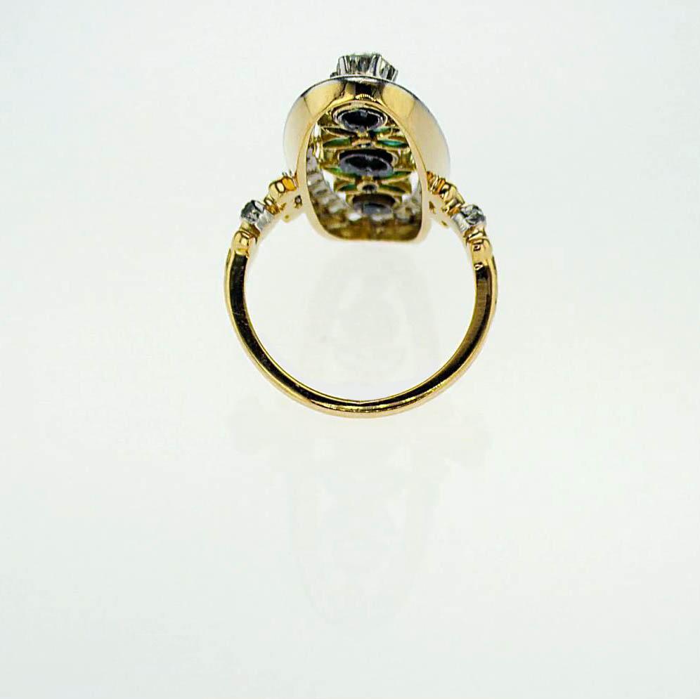 1920s Vintage Art Deco Fashion Diamond Ring, 18k