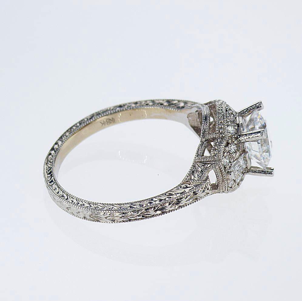 Vintage inspired Halo Engagement Ring, 18k White Gold (semi-mount)