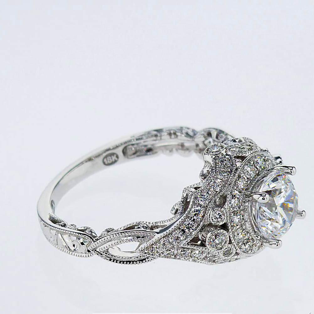 Art Deco inspired Engagement Ring, 18k White Gold(semi mount)