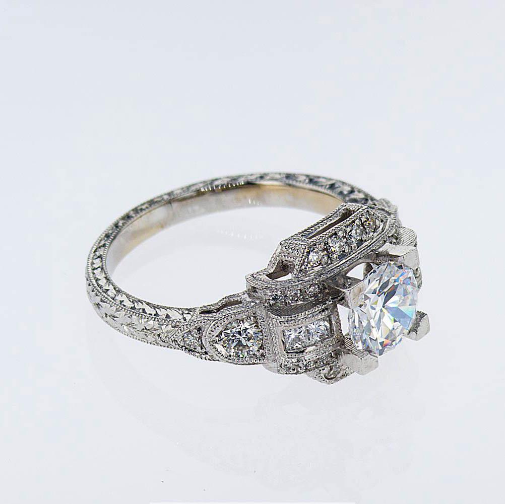 Art Deco Inspired Diamond Engagement Ring, 18k White Gold (semi-mount)