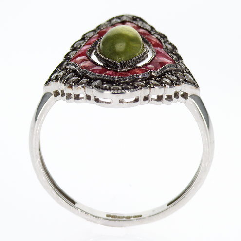 Gemstone Vermeil Engagement Ring, Victorian-era Inspired