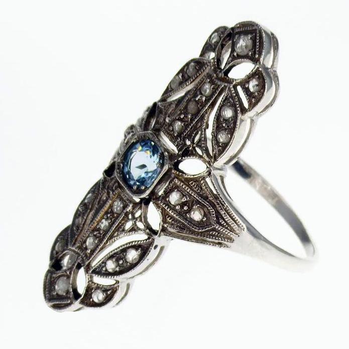 Victorian-era Inspired Gemstone Ring, Vermeil
