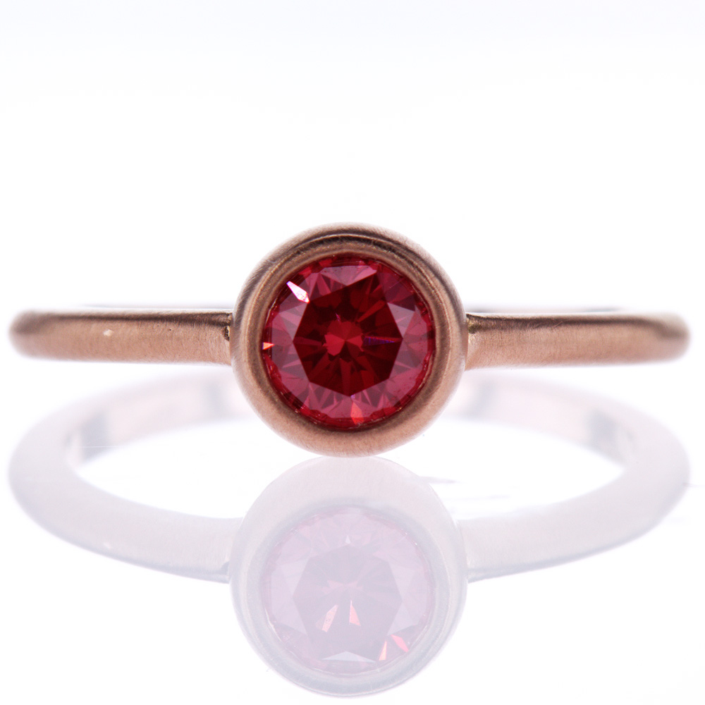 Fancy Red Diamond Solitaire Engagement Ring, 18k Rose Gold