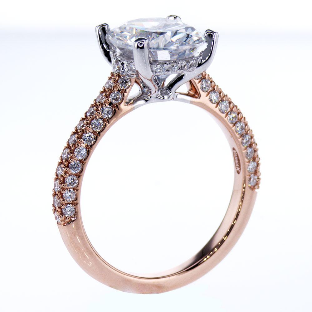 Vanna K Two Tone Diamond Engagement Ring, 18k White & Rose Gold (semi mount)