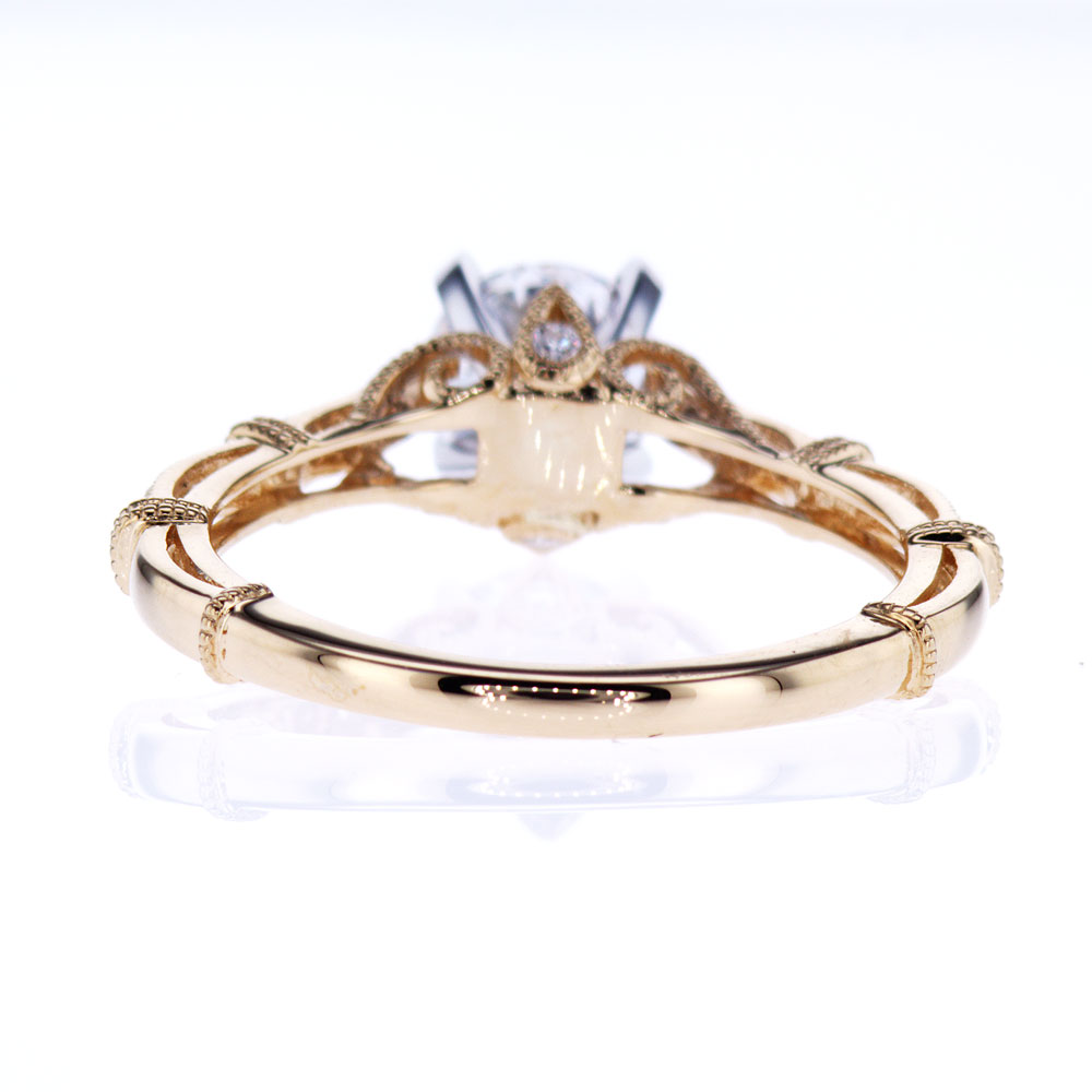 Two Tone Openwork Cathedral Engagement Ring (semi mount)