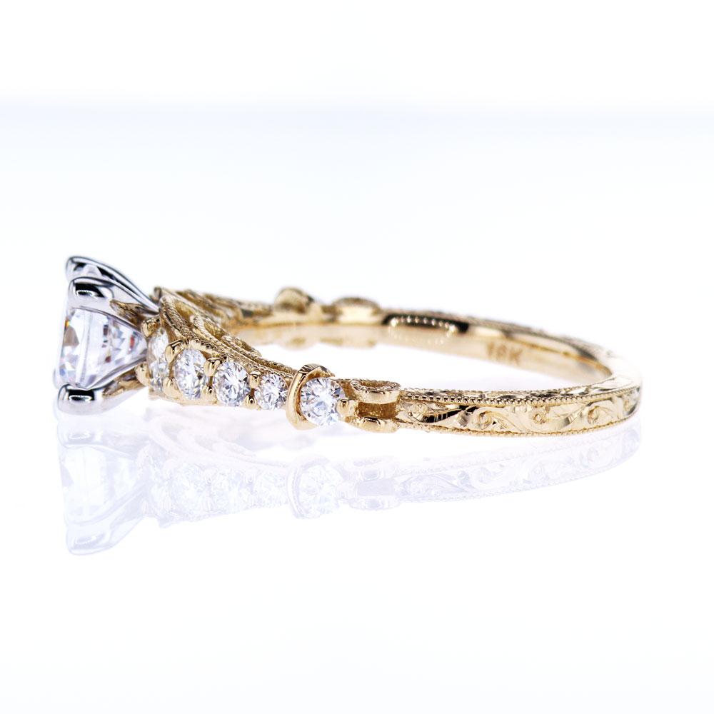 Two Tone openwork Filigree Engagement Ring, 18K Yellow Gold (semi-mount)