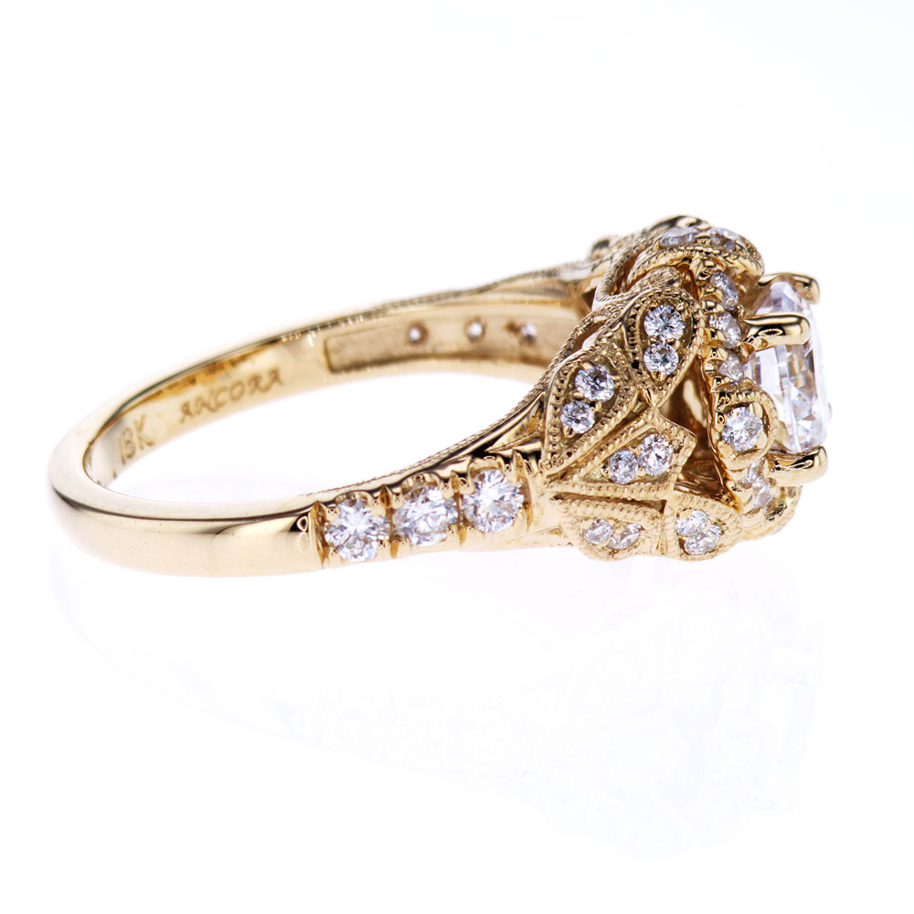 Vintage Inspired Ankora Halo Engagement Ring, 18k Yellow Gold  (semi-mount)