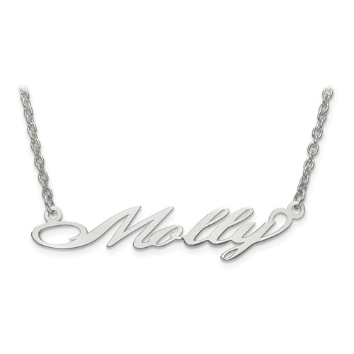 Custom Nameplate Necklace, 14K White Gold