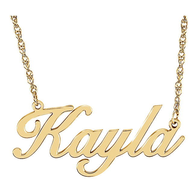 14k yellow gold personalized nameplate necklace script font custom 14k yellow gold personalized nameplate necklace script font custom name necklace aloadofball Images