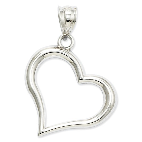Open Heart Pendant with Chain, 14k White Gold