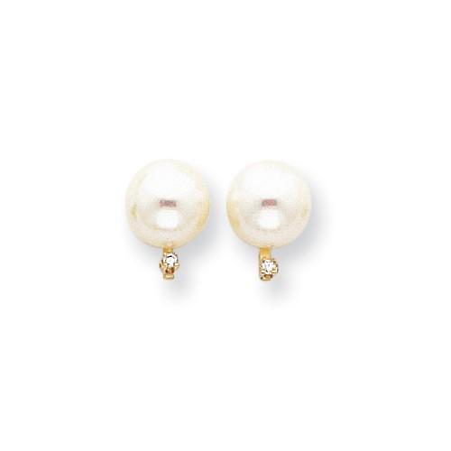 Pearl and Diamond Earrings, 14k Yellow