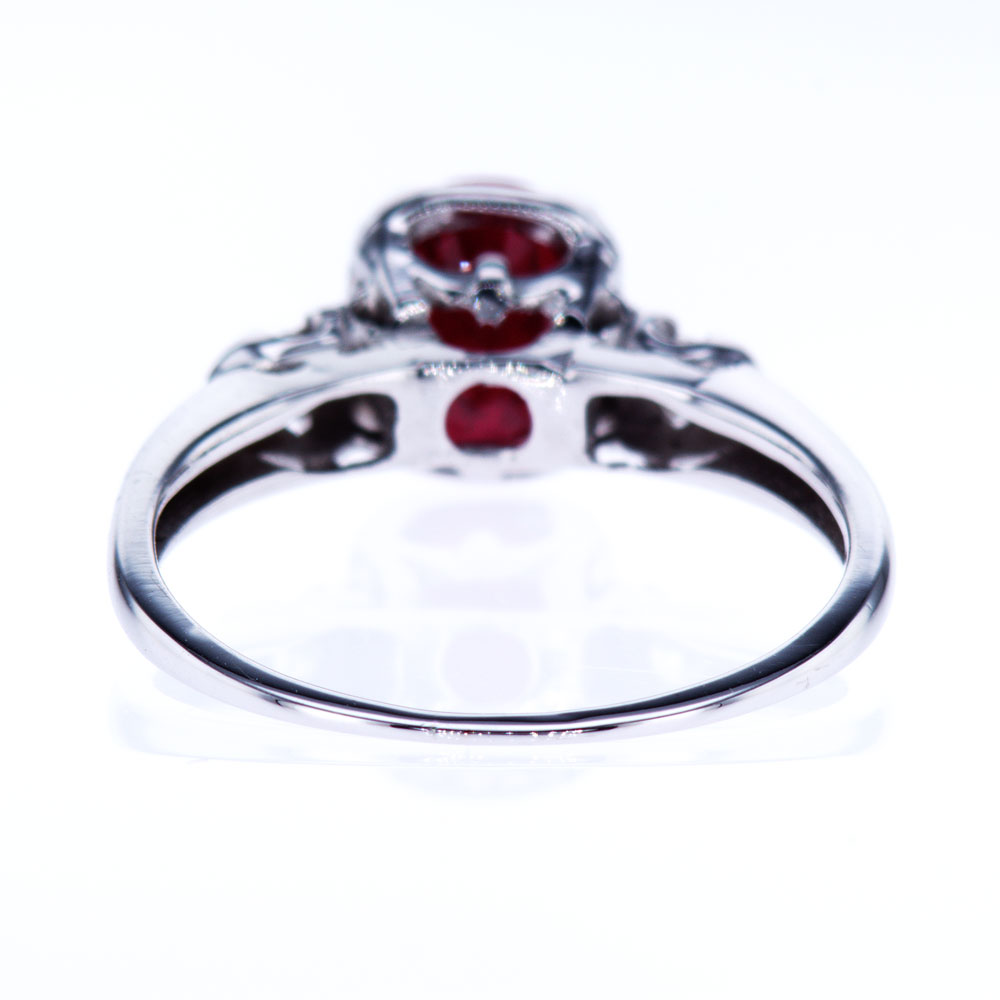 Three Stone Oval Ruby Ring, 18K White Gold