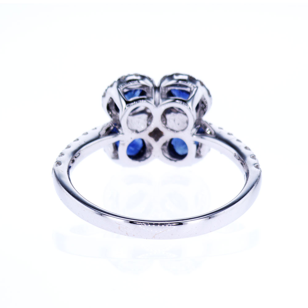 Blue Sapphire and Diamond Cocktail Ring, 18K White Gold
