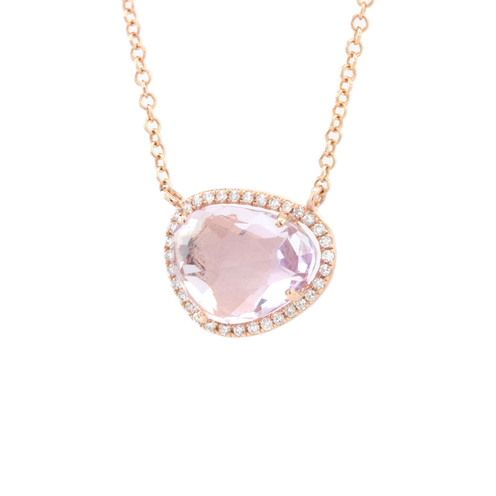 14K Rose Gold Rock Candy Pink Amethyst & Diamond Necklace