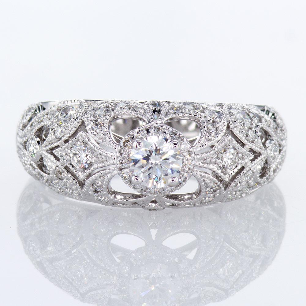 Ornate Profile Engagement Ring Setting, 14k White Gold(semi mount)