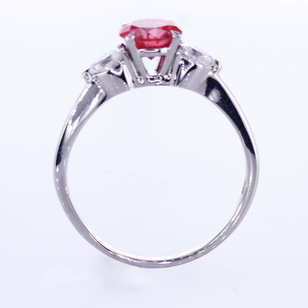 Fancy Red Diamond Engagement Ring, 18k White Gold