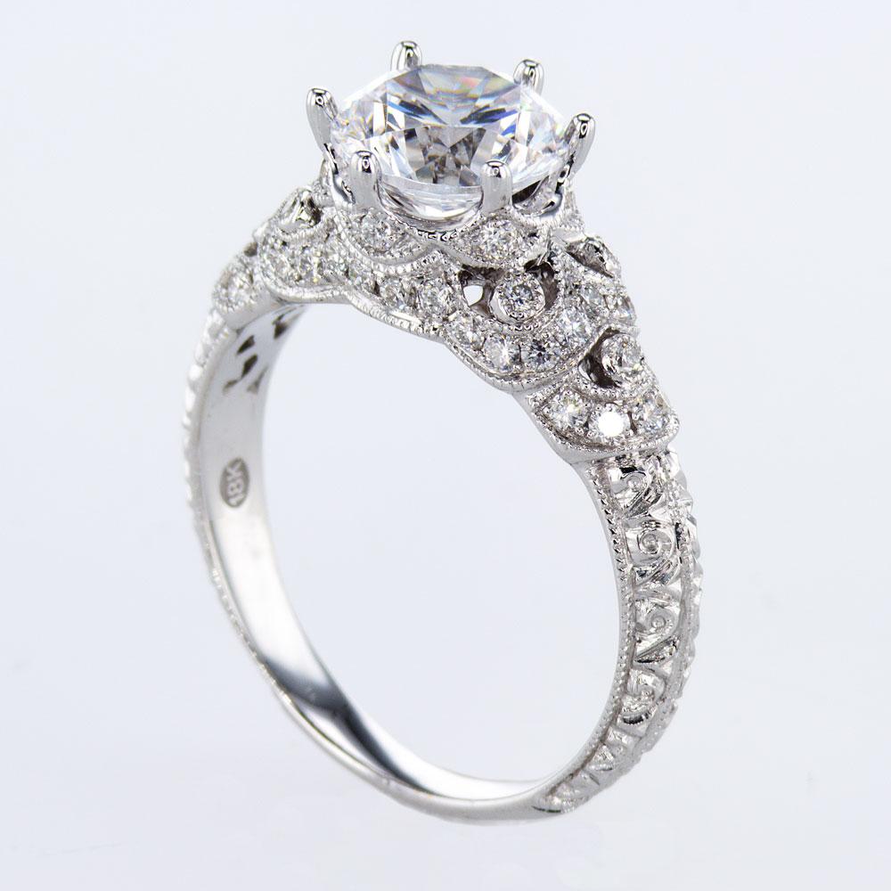 18K White Gold Diamond Engagement Ring, Sculptural-inspired (semi-mount)
