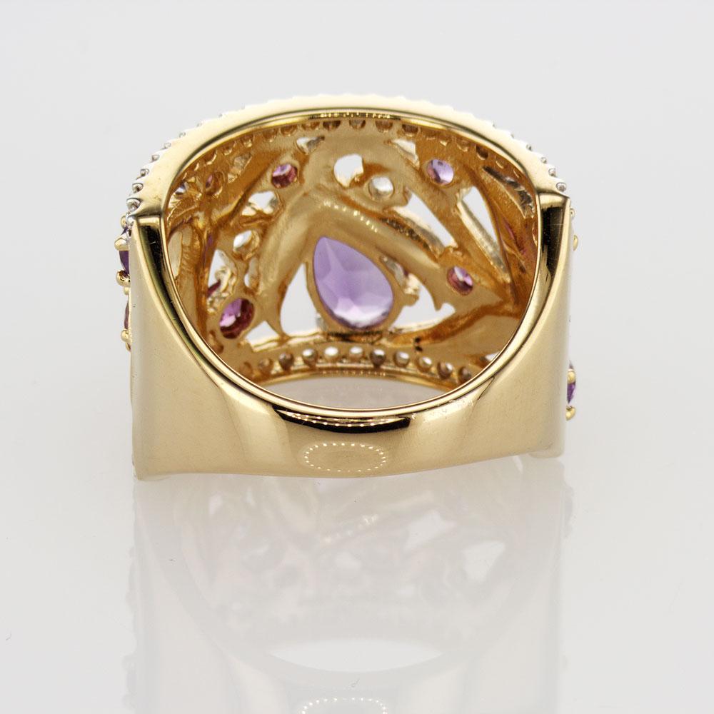 Art Nouveau Inspired Gemstone and Enamel Ring, 14k Yellow Gold
