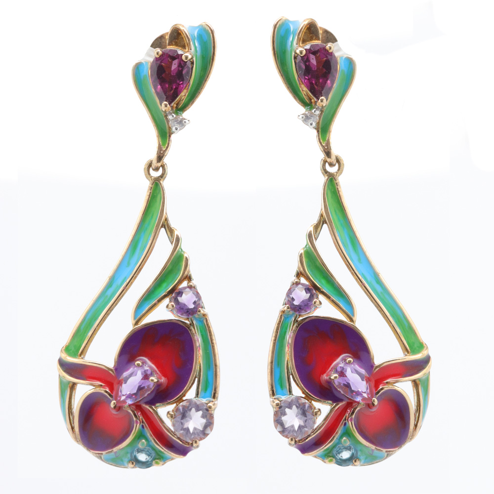 Floral-inspired Enamel Dangle Earrings, Sterling Silver