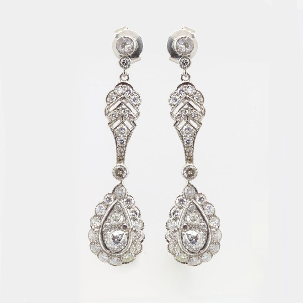 Vintage Diamond Drop Earrings, Platinum