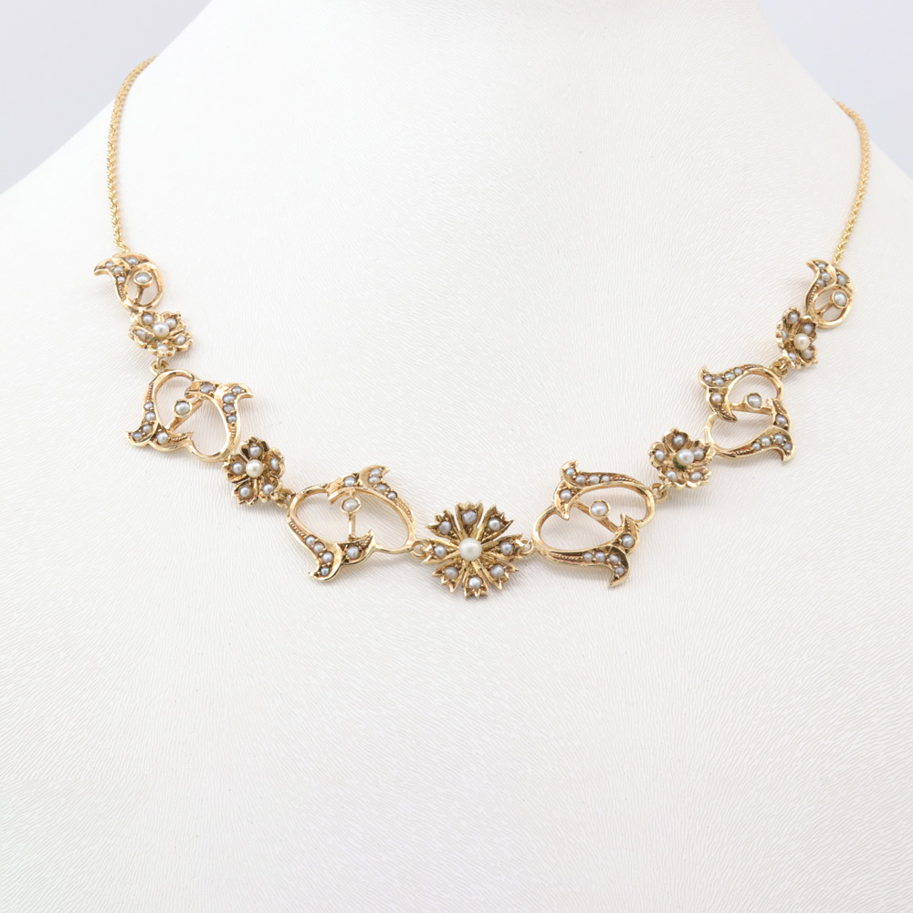 Vintage Flower Pearl Necklace, 14k Yellow Gold