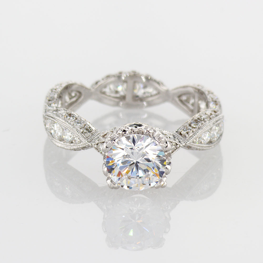 Art Deco Engagement Ring Setting, 18k White Gold
