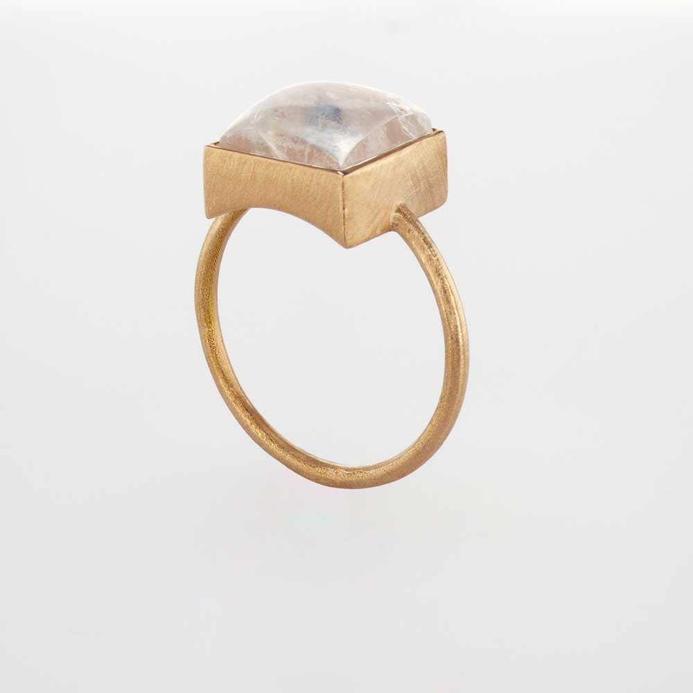 Square Moonstone Ring, 18k Rose Gold