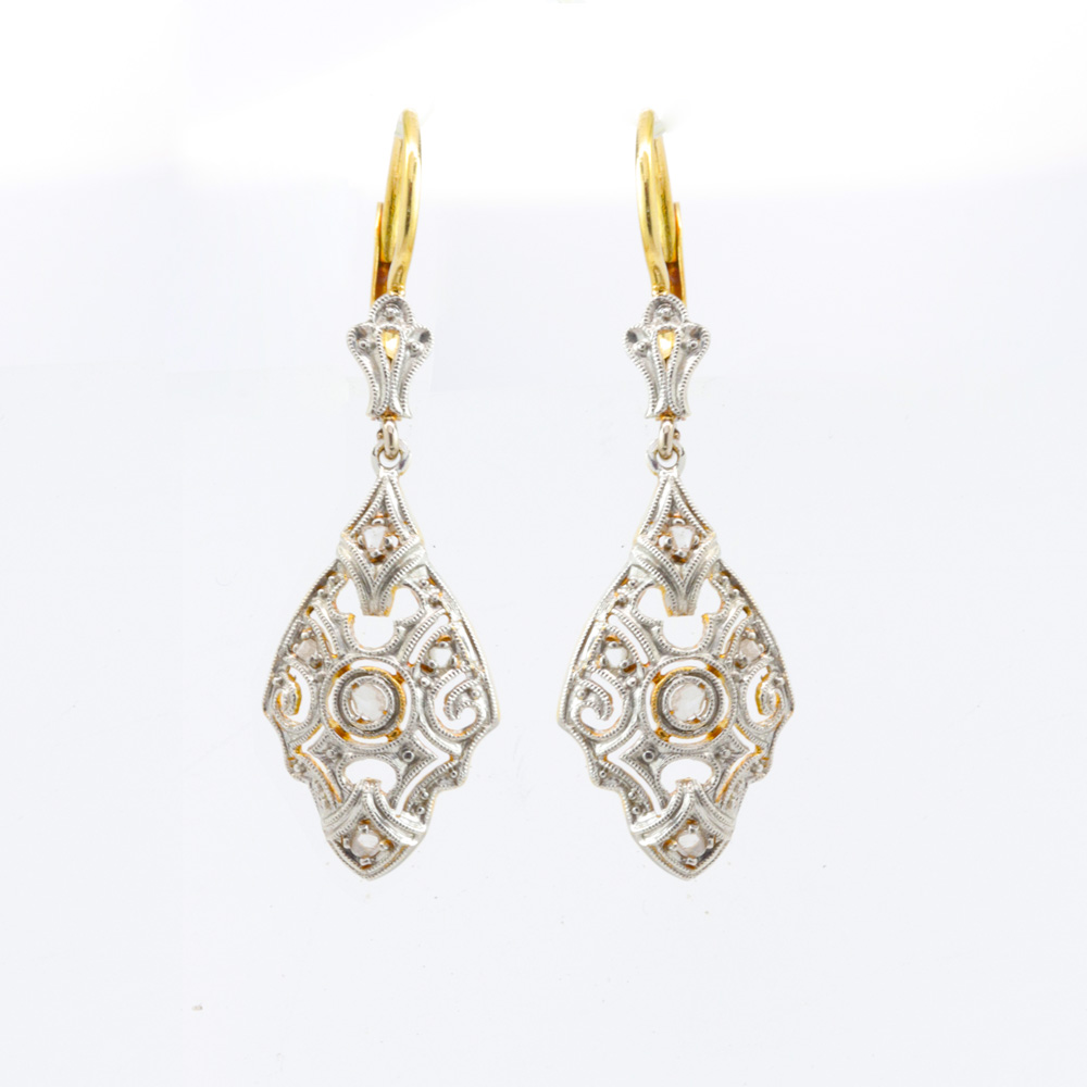 Victorian Scroll Earrings with Diamonds, 18k Gold