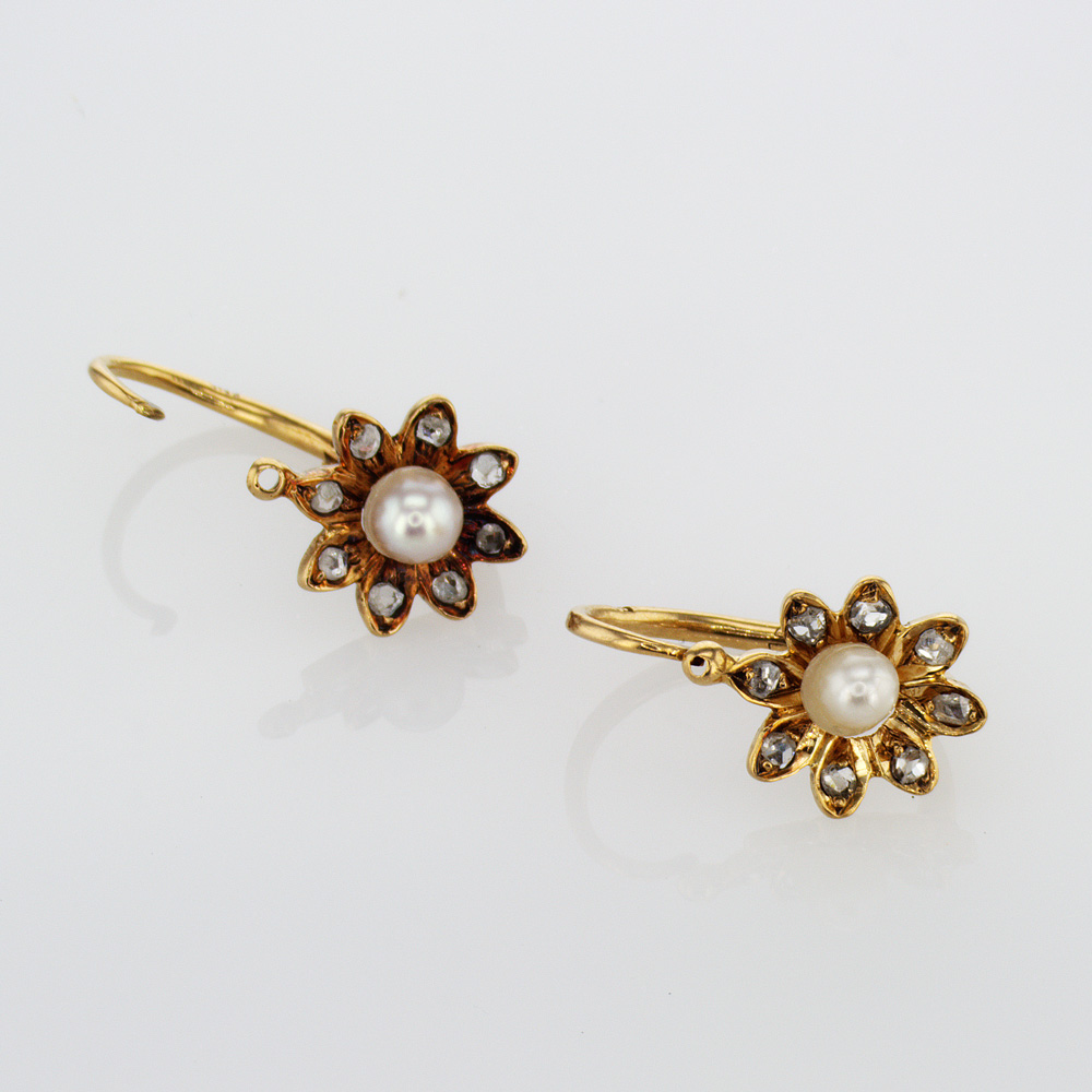 1919 Vintage Pearl and Diamond Daisy Earrings, 18k Yellow Gold