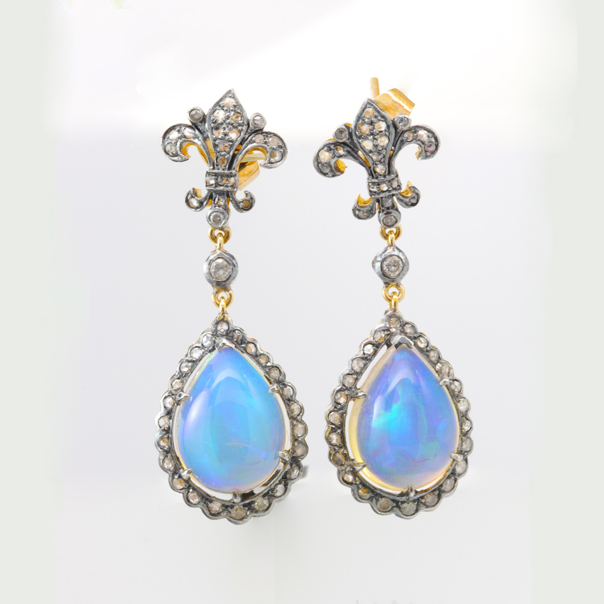 Vintage Moonstone Tear Drop Earrings with Diamond Accents