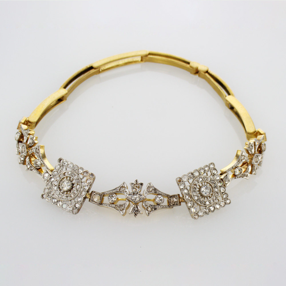 Vintage Openwork Diamond Bracelet, 18k Yellow Gold