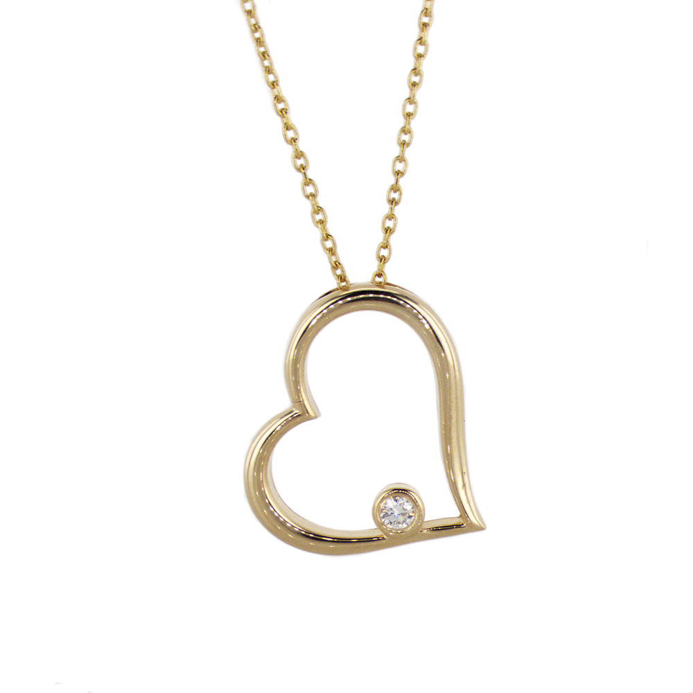 Diamond Accented Heart Pendant, 14k Yellow Gold