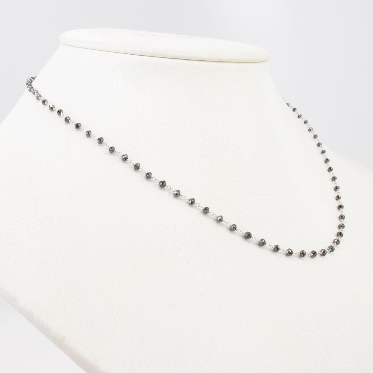 5.3 Carat Black Diamond Necklace, 14k White Gold