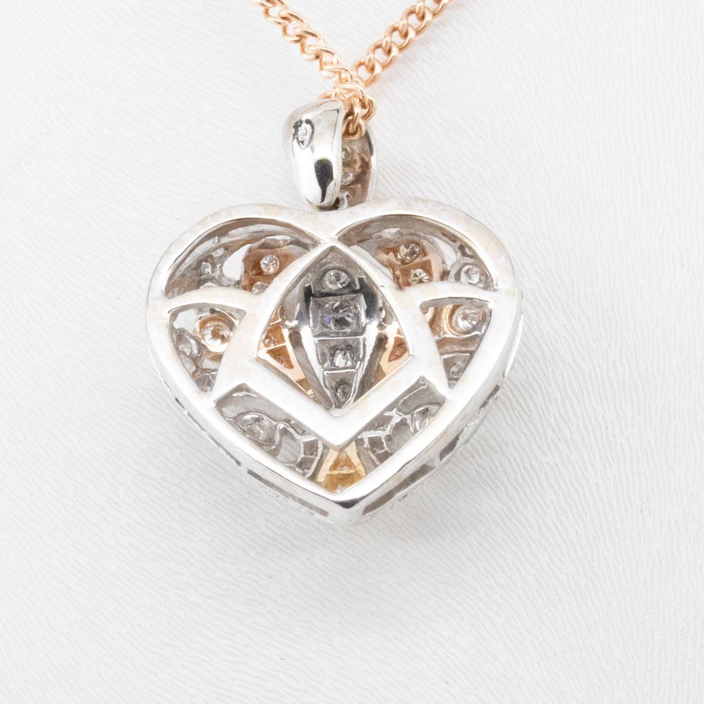 Two Tone Diamond Heart Pendant, 18k White and Rose Gold