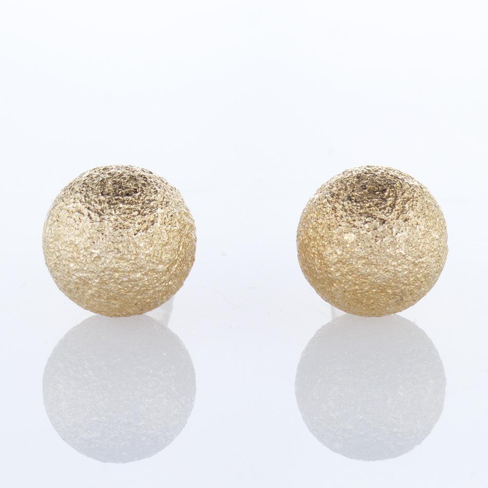 Stardust Bead Balls Stud Earrings, 14k Yellow Gold