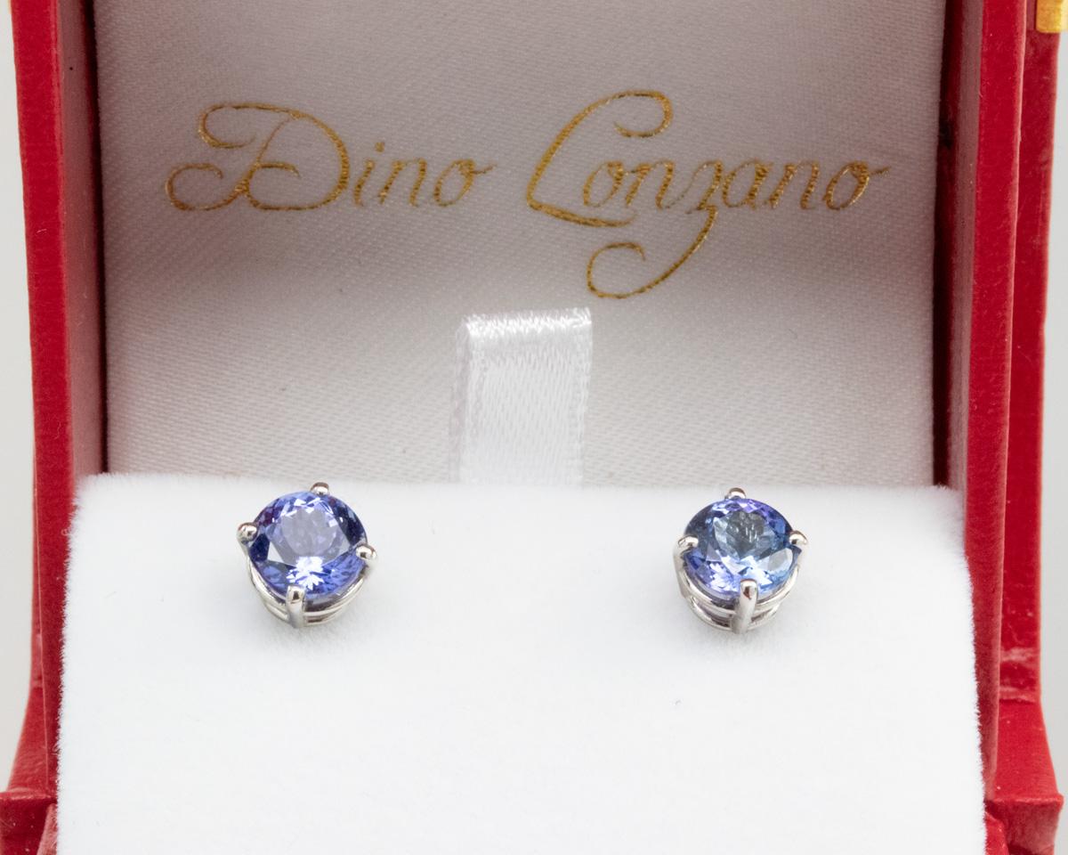 Blue Tanzanite Stud Earrings, Palladium