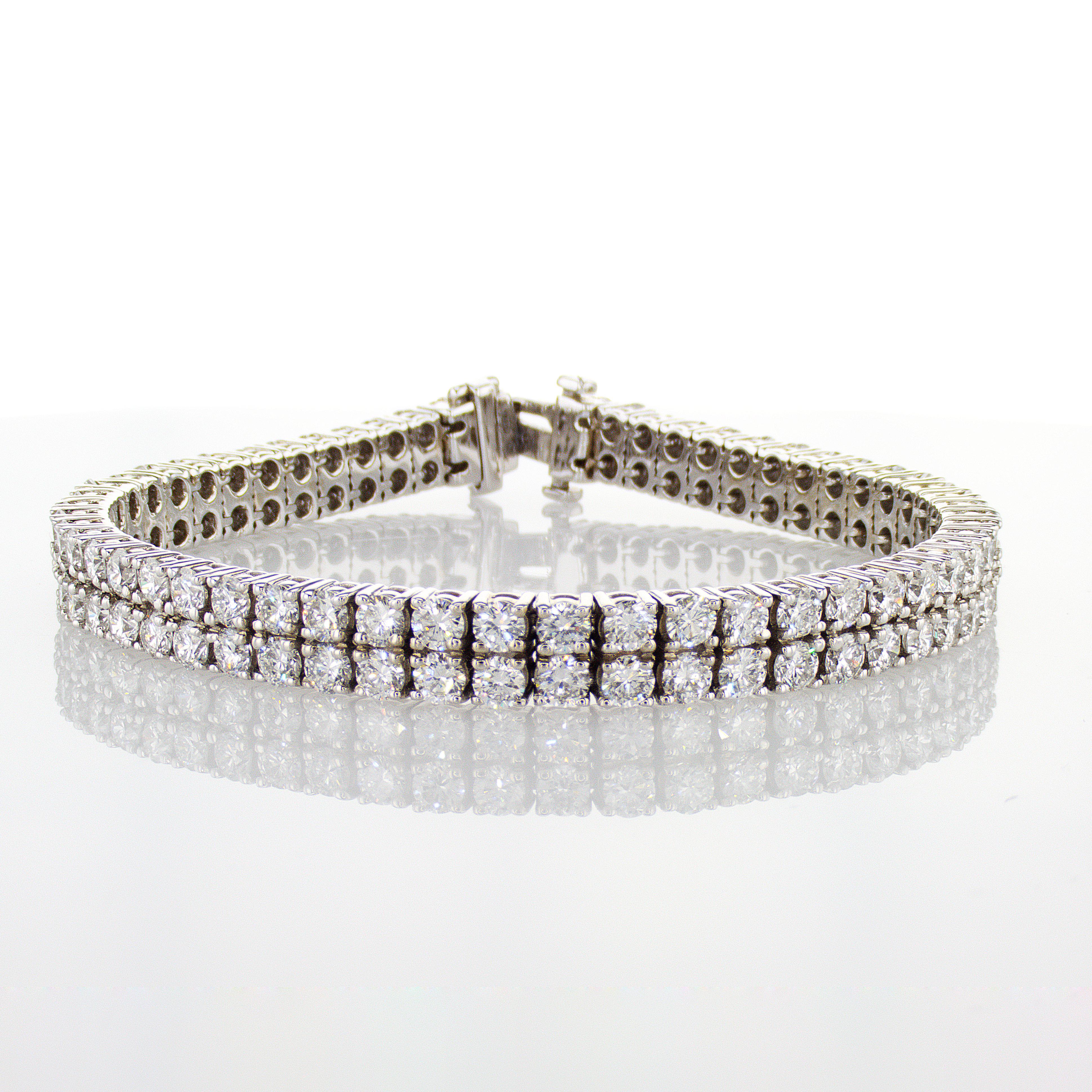 Double Row Diamond Tennis Bracelet, 14k White Gold