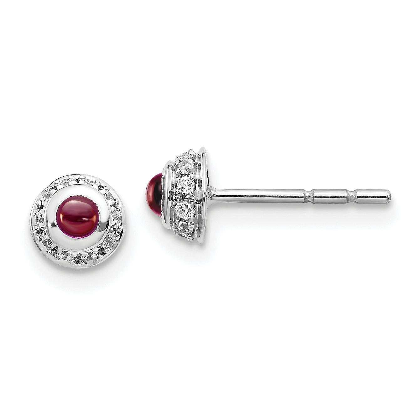 Bezel set Garnet Stud Earrings with Diamond accents, 14k White Gold